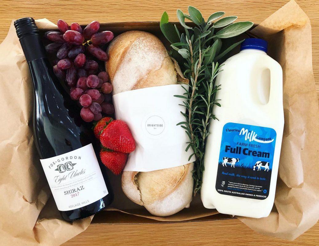Brightside deli cafe Back to Basics box from Brightside Deli with Fox Gordon wine, Riviera Bakery bread, Fleurieu Milk Company 2L