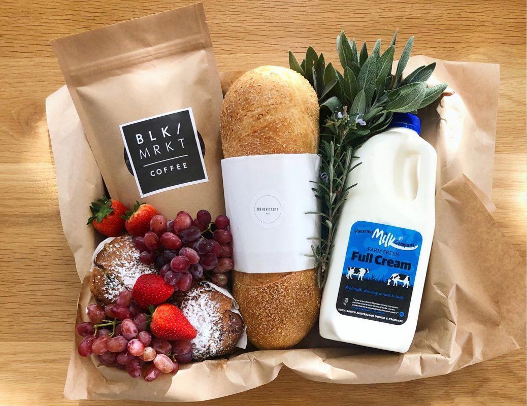 Brightside deli cafe Brekkie Basics Grazing Box with Fleurieu Milk Co milk, BLK / MRKT coffee and Riviera Bakery sourdough for breakfast
