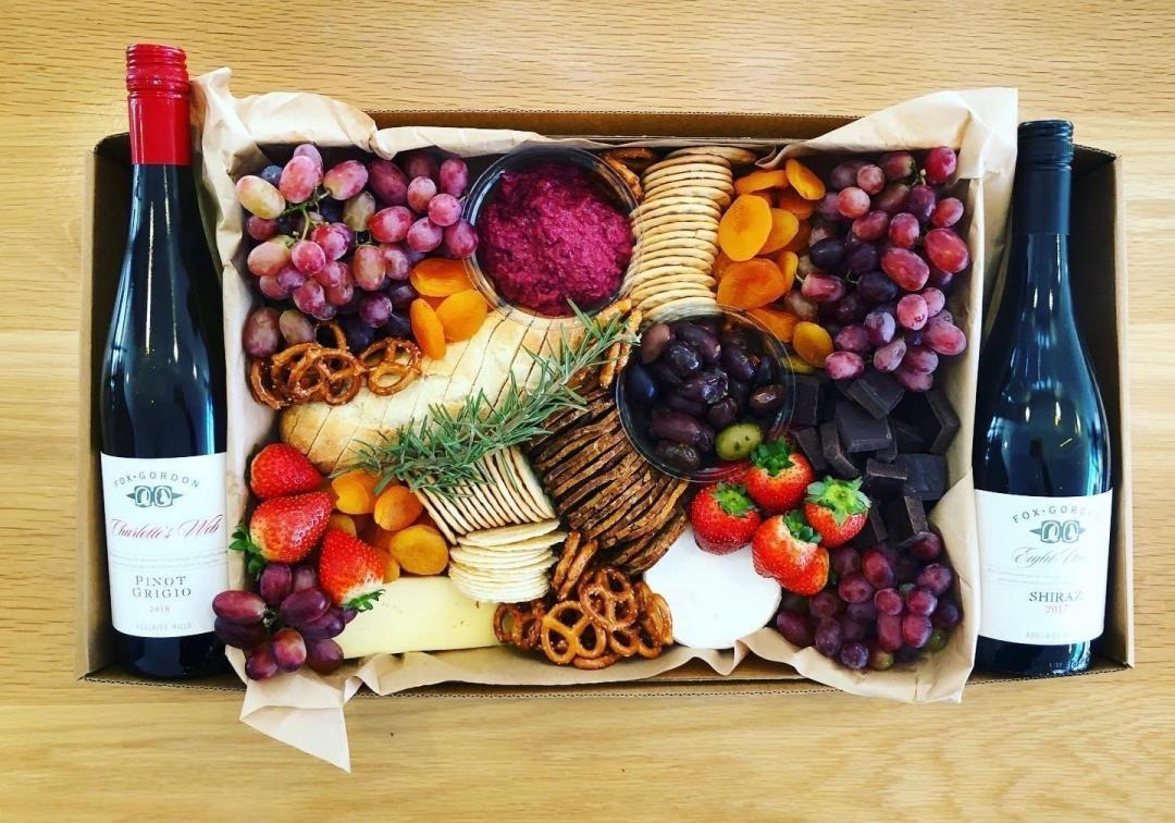 Brightside Deli cafe grazing boxes - Big Night In with wine, cheese, antipasto, goodies from south australia